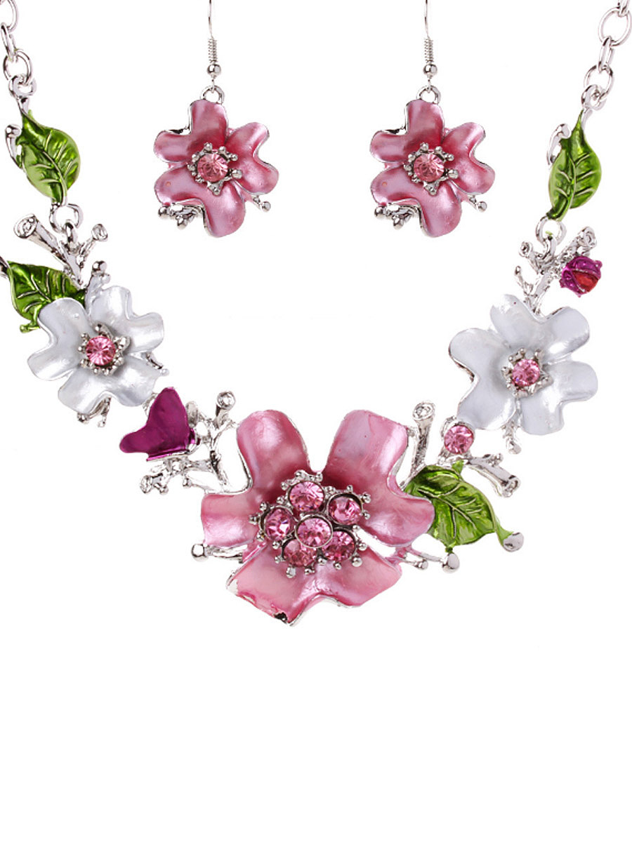 Sweet Flower With Rhinestone Necklace And Earring
