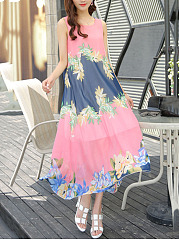 Hollow Out Round Neck Printed Chiffon Maxi Dress