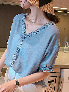 Spring Summer  Polyester  Women  V-Neck  Decorative Lace  Plain  Half Sleeve Blouses
