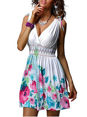 Deep V-Neck  Elastic Waist  Floral Printed Skater Dress