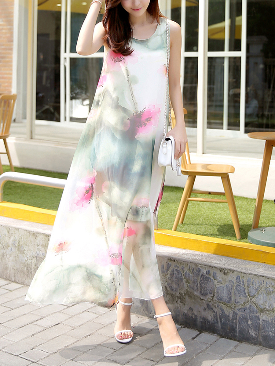 Round Neck Hollow Out Printed Chiffon Maxi Dress