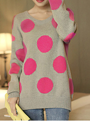 Round Neck  Dot Knit Pullover