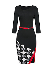 Asymmetric Neck Belt Split Contrast Trim Plaid Bodycon Dress