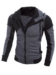 Hooded-Pocket-Color-Block-Men-Coat