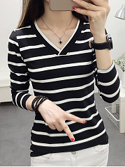Autumn Spring  Women  Striped  Long Sleeve Long Sleeve T-Shirts