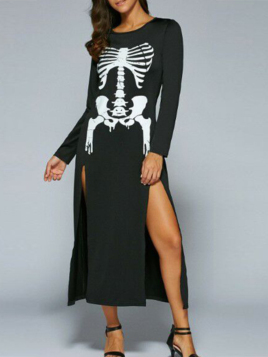 Halloween Skeleton Printed High Slit Maxi Dress