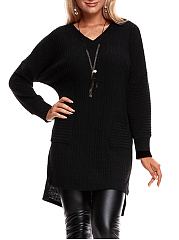 V-Neck Patch Pocket High-Low Sweater