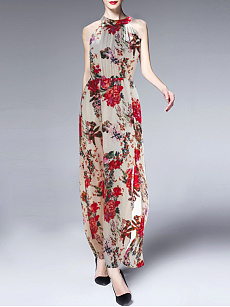 Halter  Floral Printed Maxi Dress