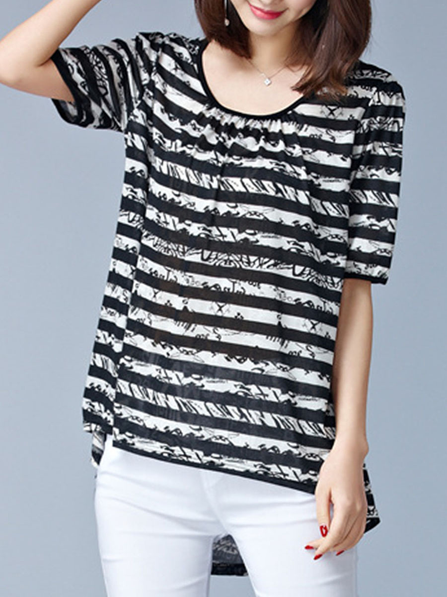 Round Neck Striped High-Low Blouse