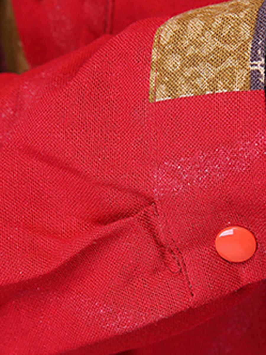 Round Neck Pocket Printed Midi Shift Dress