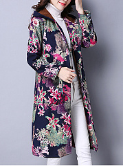 Hooded Patch Pocket Floral Printed Fleece Lined Long Coat
