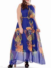 Swing-Round-Neck-Hollow-Out-Printed-Chiffon-Plus-Size-Maxi-Dress