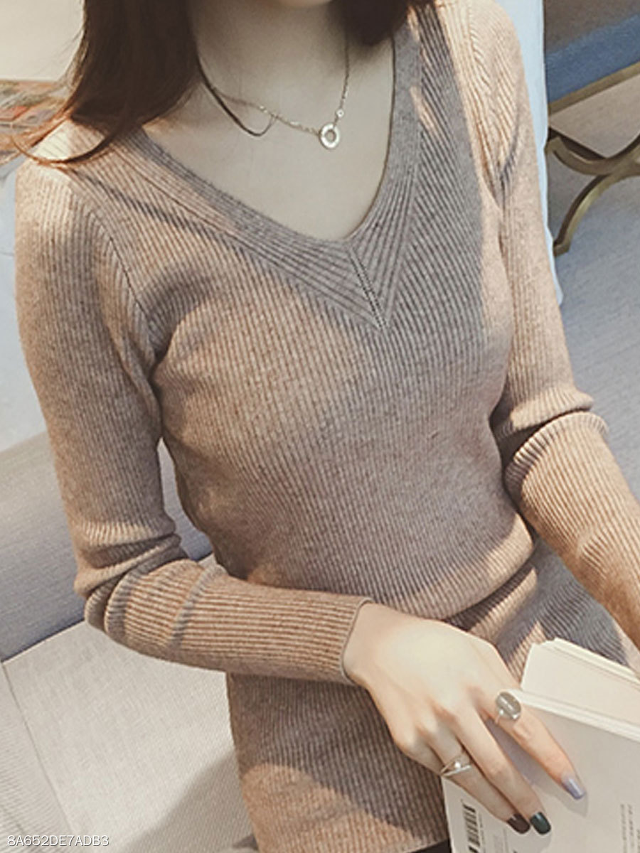 V-Neck  Plain  Long Sleeve Pullover