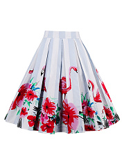 Inverted Pleat Flared Midi Skirt In Floral Flamingo Printed