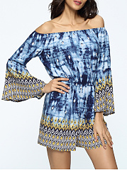Bell-Sleeve-Off-Shoulder-Elastic-Waist-Printed-Romper