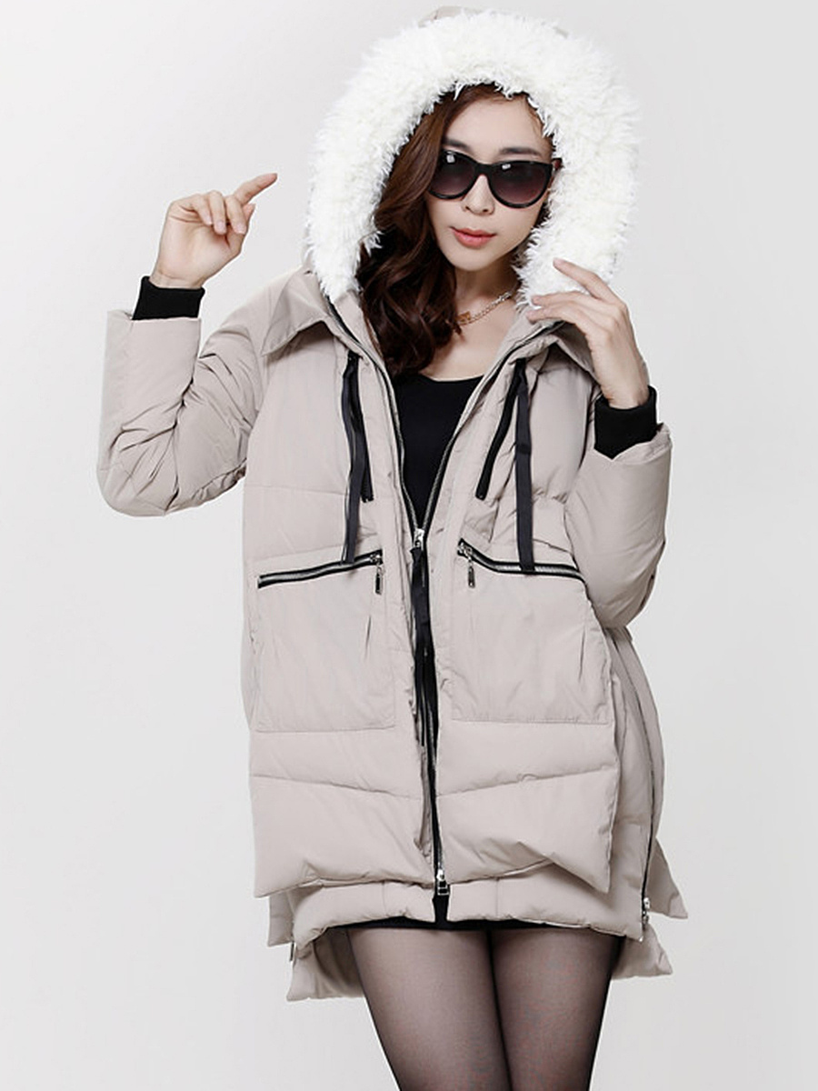 Hooded Pocket Zips Quilted Padded Coat