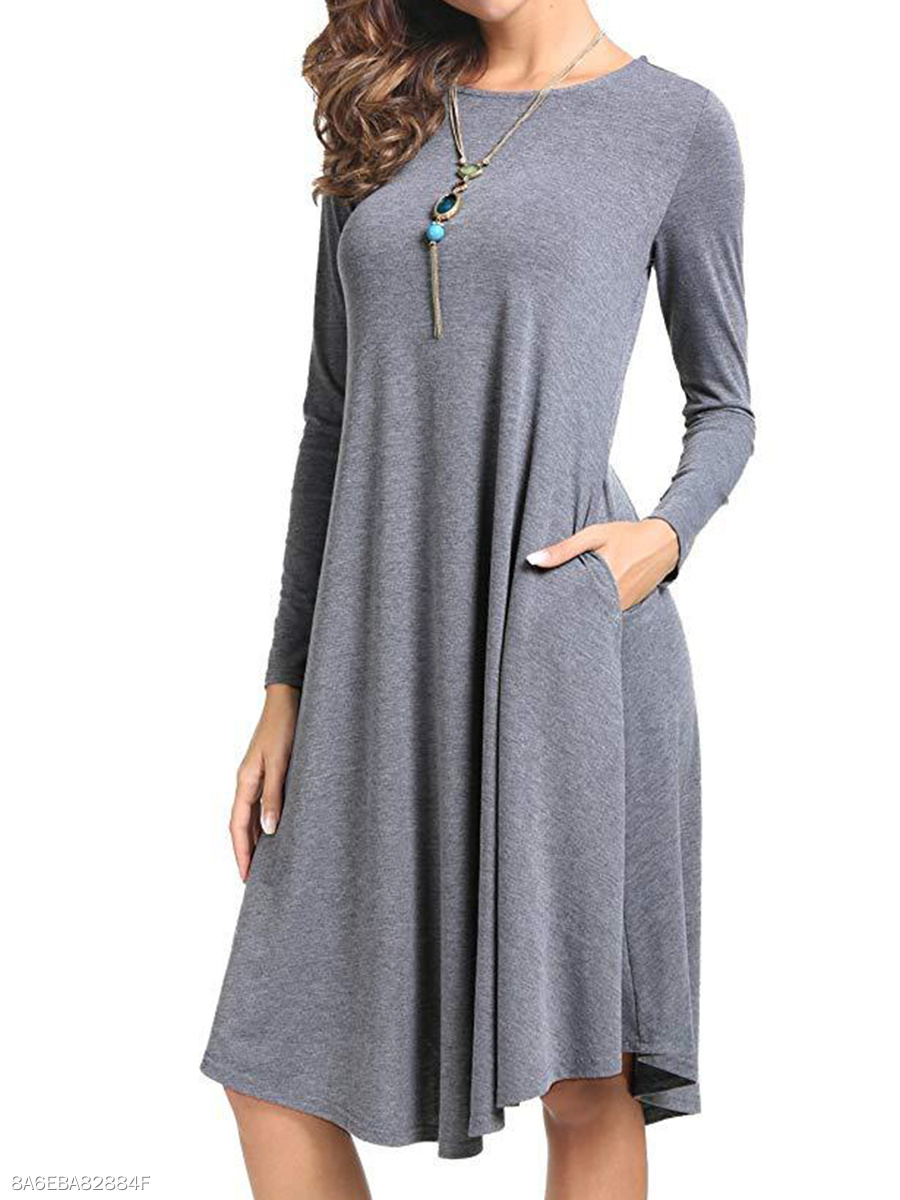Plain Round Neck Basic Shift Dress