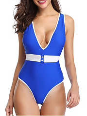 V Neck  Color Block One Piece Swimwear