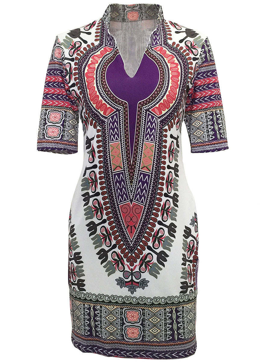 Band Collar  Tribal Printed  Polyester Bodycon Dress