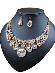 Multicolor Drop Imitated Crystal Necklace Sets