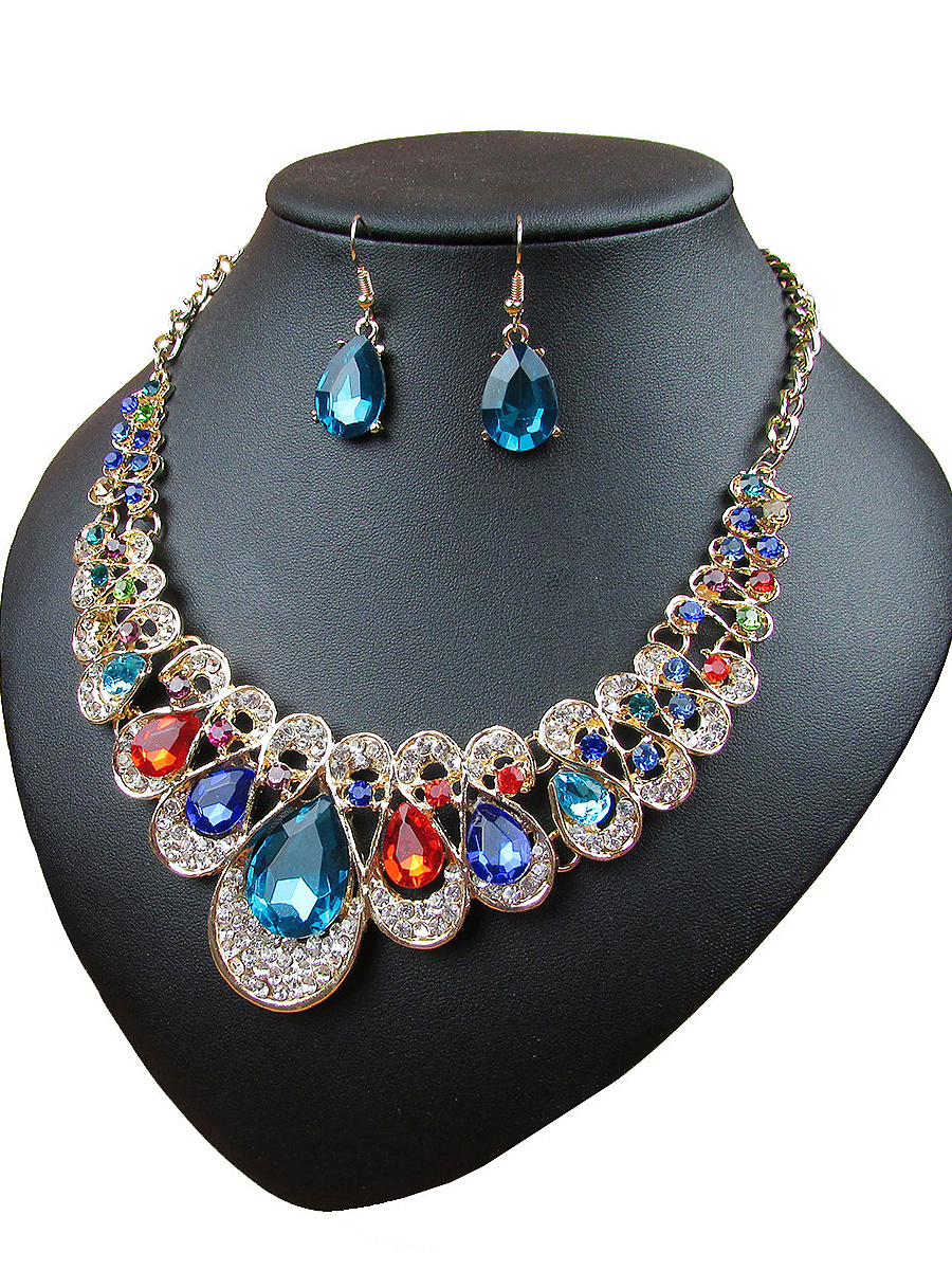 Multicolor Drop Crystal Necklace Sets