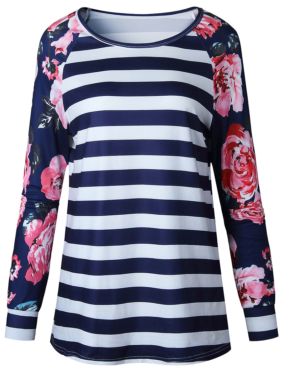 Striped Floral Round Neck Long Sleeve T-Shirt