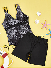 Simple Spaghetti Strap Printed Swimwear
