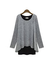 Autumn Spring  Polyester  Round Neck  Patchwork  Plain Long Sleeve T-Shirts