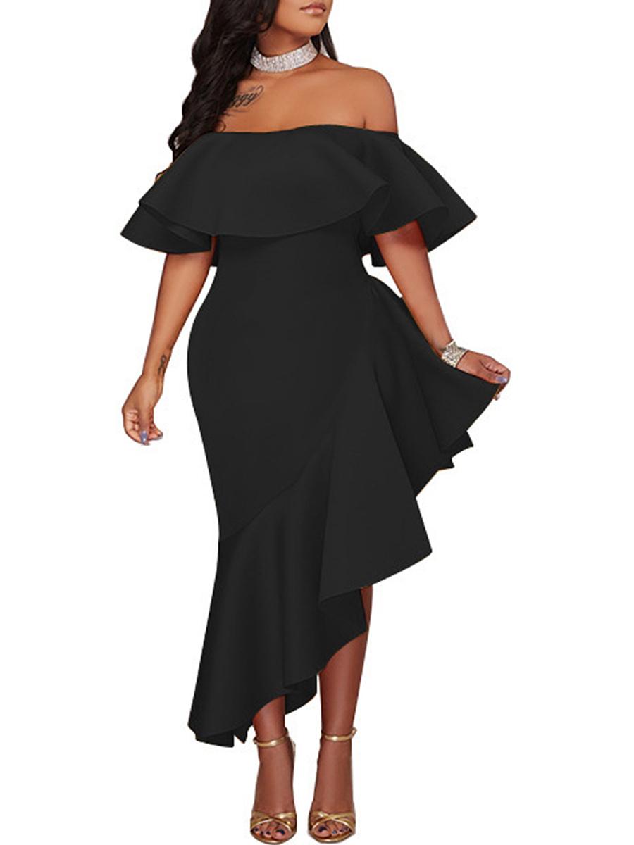 Off Shoulder  Asymmetric Hem  Plain  Polyester Maxi Dress
