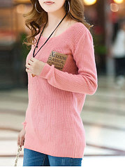 Round Neck  Plain  Long Sleeve Sweaters Pullover