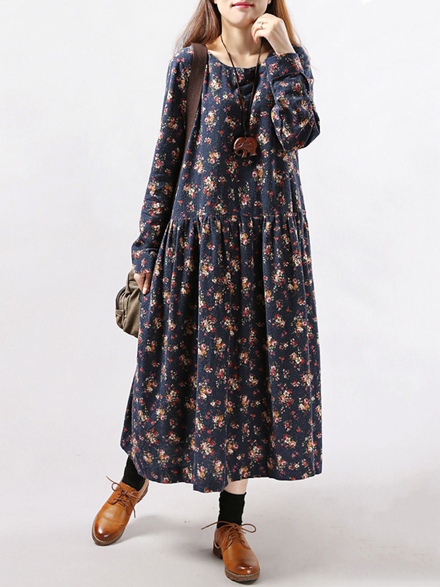 Round Neck Tiny Floral Printed Maxi Dress