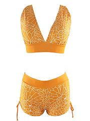 Spaghetti-Strap-Drawstring-Printed-Swimwear