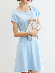 Round Neck  Patch Pocket  Plain Skater Dress