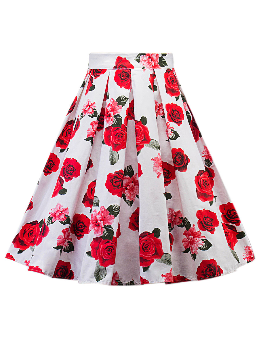 Delicate Floral Printed Inverted Pleat Flared Midi Skirt