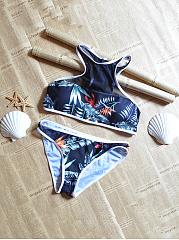 Round-Neck-Backless-Printed-Bikini