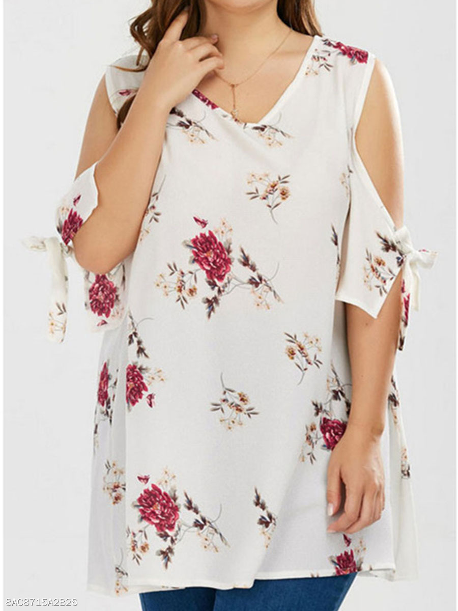 Round Neck  Floral Printed  Tie Sleeve  Short Sleeve Plus Size T Shirt