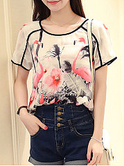 Summer  Chiffon Cotton  Women  Round Neck  Floral Printed  Short Sleeve Short Sleeve T-Shirts