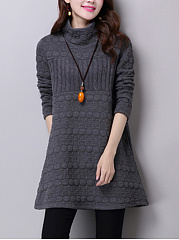 Band Collar  Plain  Cotton Blend Shift Dress