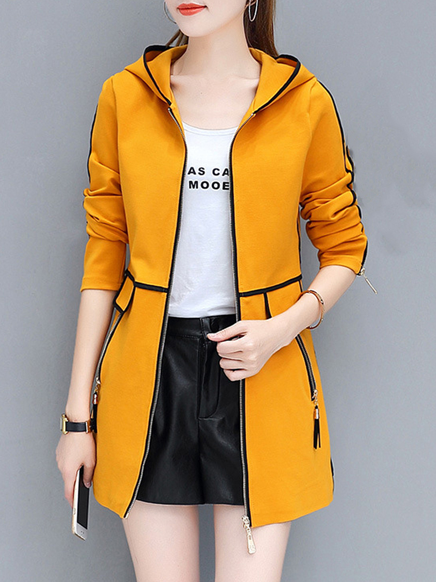 Hooded  Contrast Trim Zips Pocket Coat