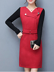 V-Neck  Patchwork Pocket  Woolen Shift Dress