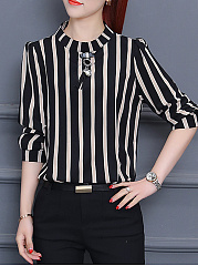 Vertical Striped Chiffon Blouse