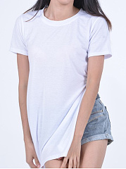 Summer  Cotton  Women  Round Neck  Asymmetric Hem Slit  Plain Short Sleeve T-Shirts