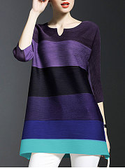 Spring Summer  Polyester  Women  V-Neck  Striped  Three-Quarter Sleeve Long Sleeve T-Shirts