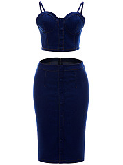 Denim Solid Spaghetti Strap Crop Top And Pencil Skirt