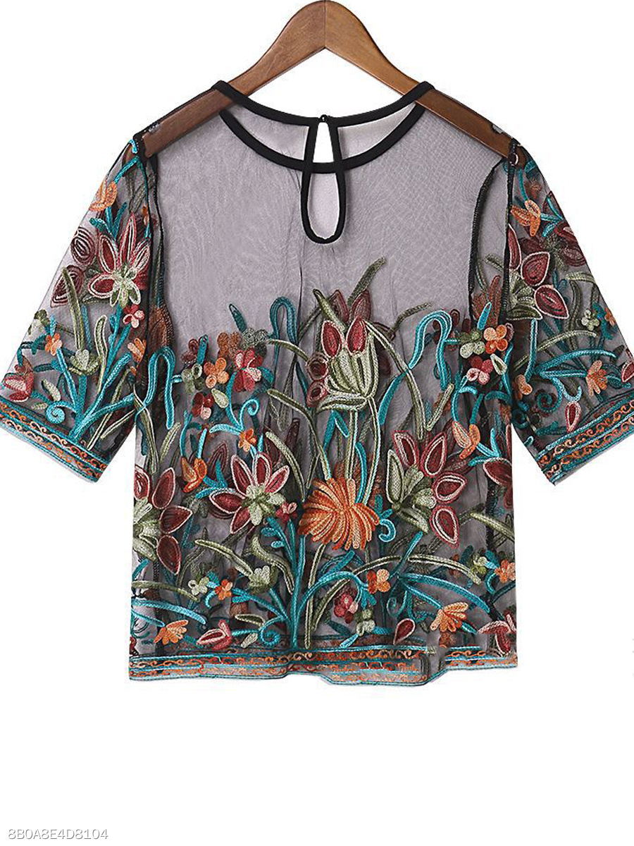 Summer  Lace  Women  Round Neck  See-Through  Embroidery Short Sleeve T-Shirts
