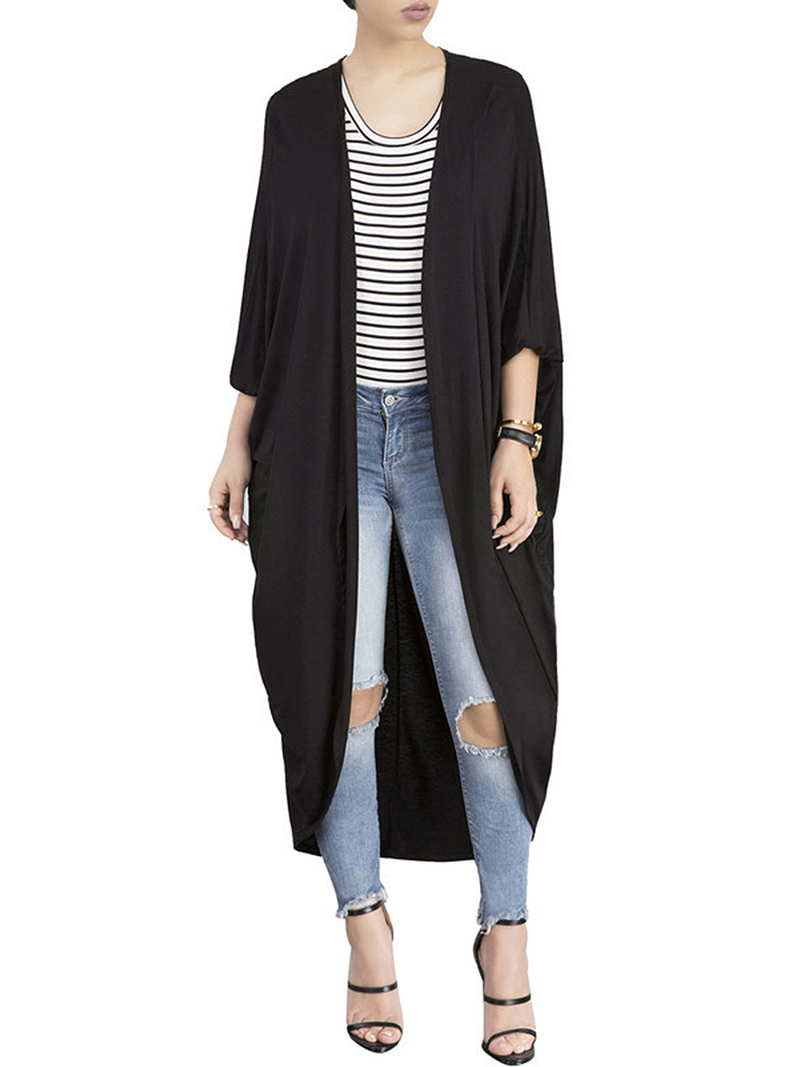 Collarless Plain Batwing Sleeve Duster Cardigan