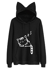 Cute Cat Printed Kangaroo Pocket Hoodie