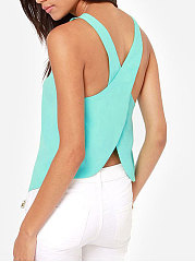 Summer  Chiffon  Women  Round Neck  Asymmetric Hem Backless  Plain  Sleeveless Blouses