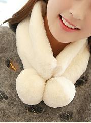 Fashion-Bobble-Faux-Fur-Collar-Double-Wool-Ball-Series-Wrap-Scarf