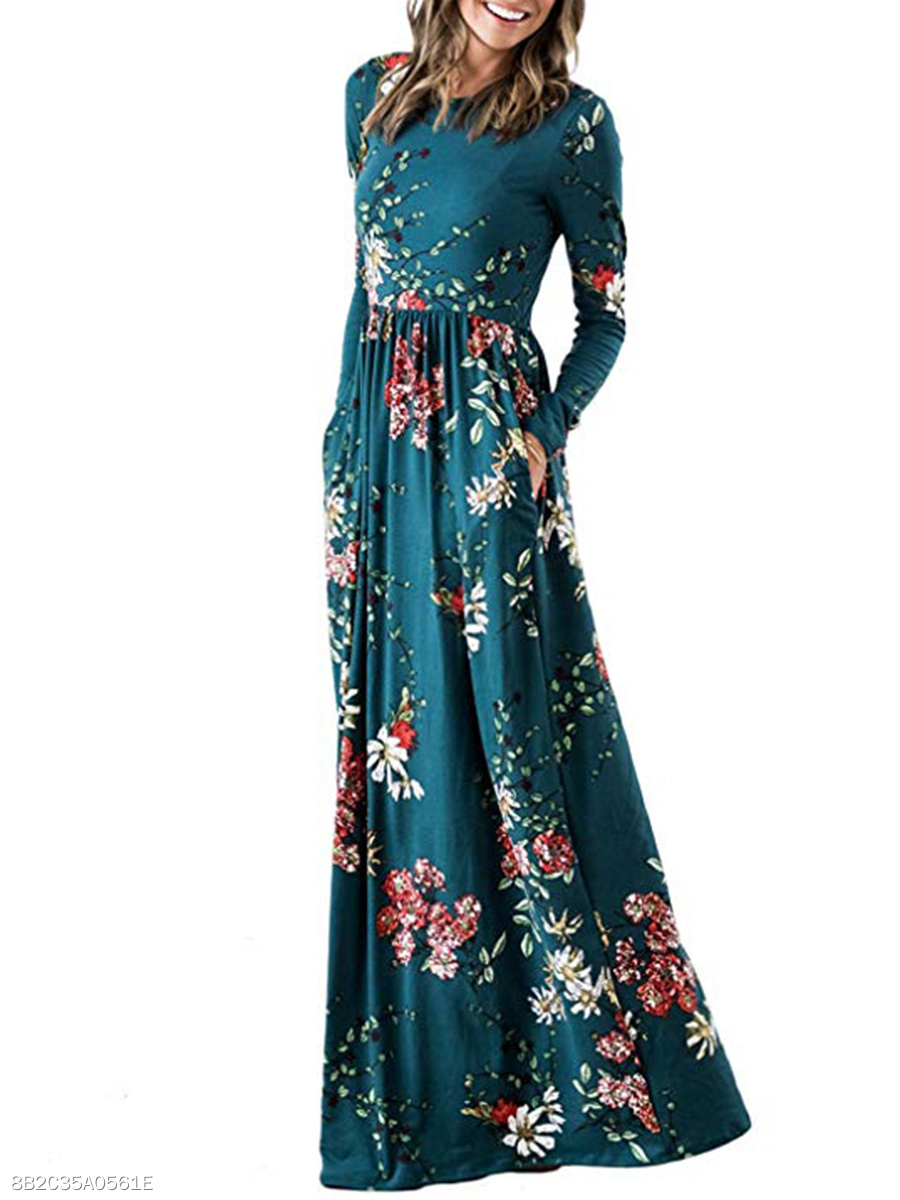 Round Neck  Printed Empire Line Daily Maxi Dress